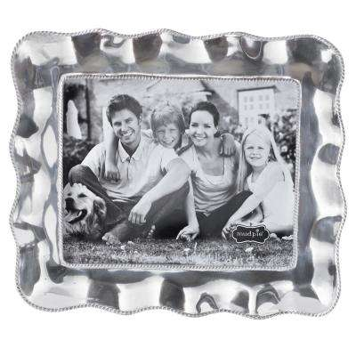 Large Ruffled Edge 8 in. x 10 in. Polished Silver Picture Frame