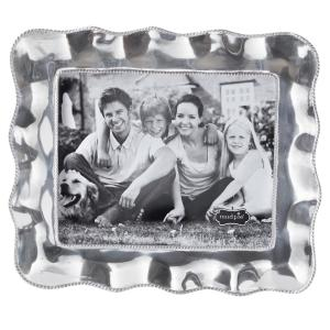 Large Ruffled Edge 8 inch x 10 inch Polished Silver Picture Frame by
