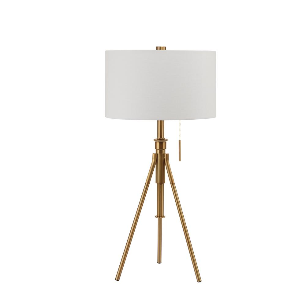 H MID CENTURY ADJUSTABLE TRIPOD GOLD TABLE LAMP