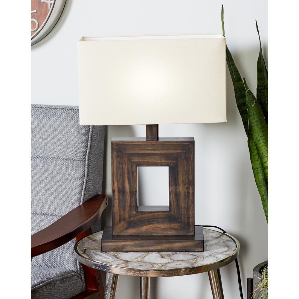 21 in. Black Square Frame Table Lamp with White Cotton Shade