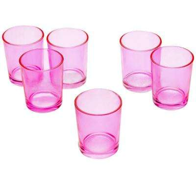 Pink Glass Round Votive Candle Holders (Set of 12)