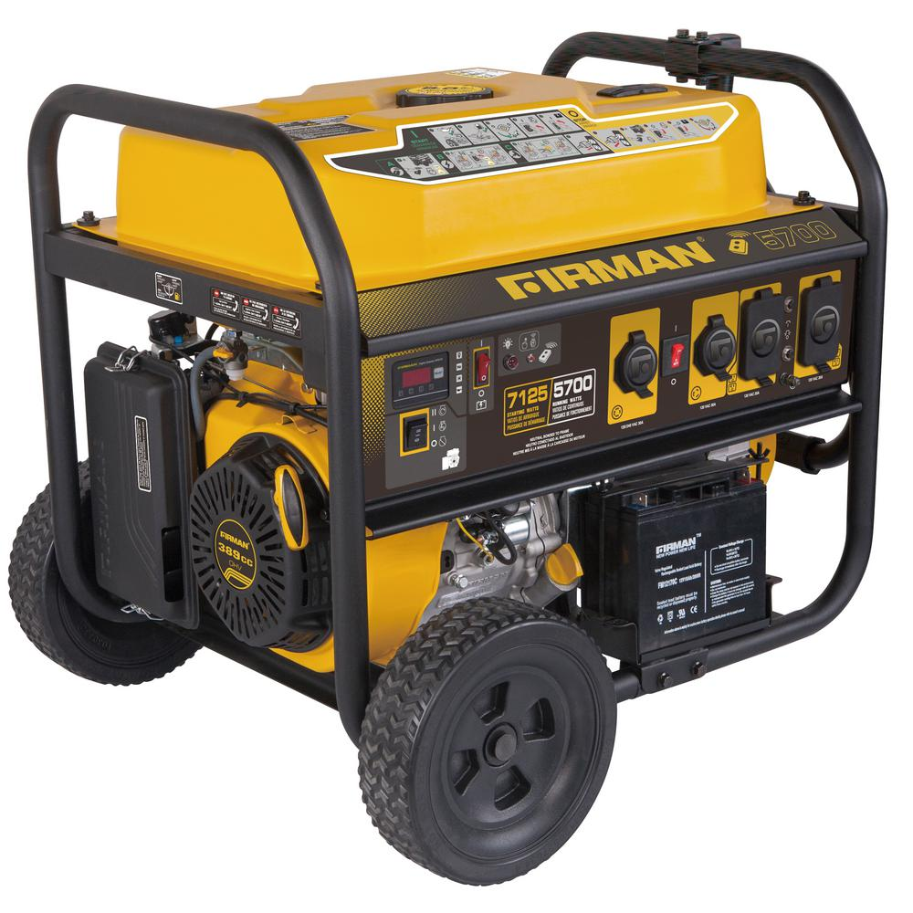 Firman 7125/5700-Watt Gas Powered Remote Start Portable Generator