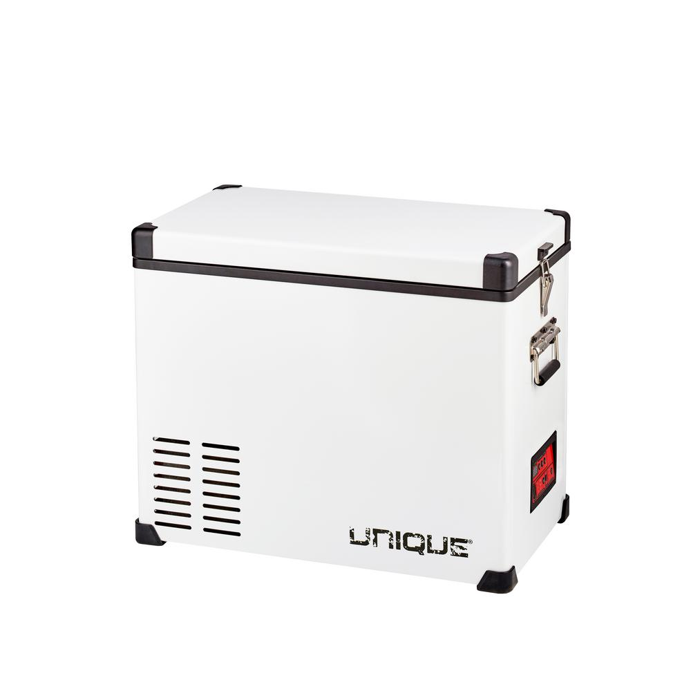 Unique 1.6 cu. Ft. 45L Solar 12-Volt/12-Volt DC or 110-Volt AC Portable Refrigerator/Freezer in White This AC/DC powered fridge/freezer is versatile, whether used in your vehicle, camp, cottage or your home. It keeps your food fresh and your energy consumption low (worlds most reliable DC cooling system Danfoss/Secop compressor). Individual compartment temperature control enables customizable fridge/freezer combinations, and its rugged construction and digital control panel make this system essential for off-grid life (deep cycle marine battery required for off-grid use). All connections, AC/DC converter included, along with a protective insulated cover. Color: White.