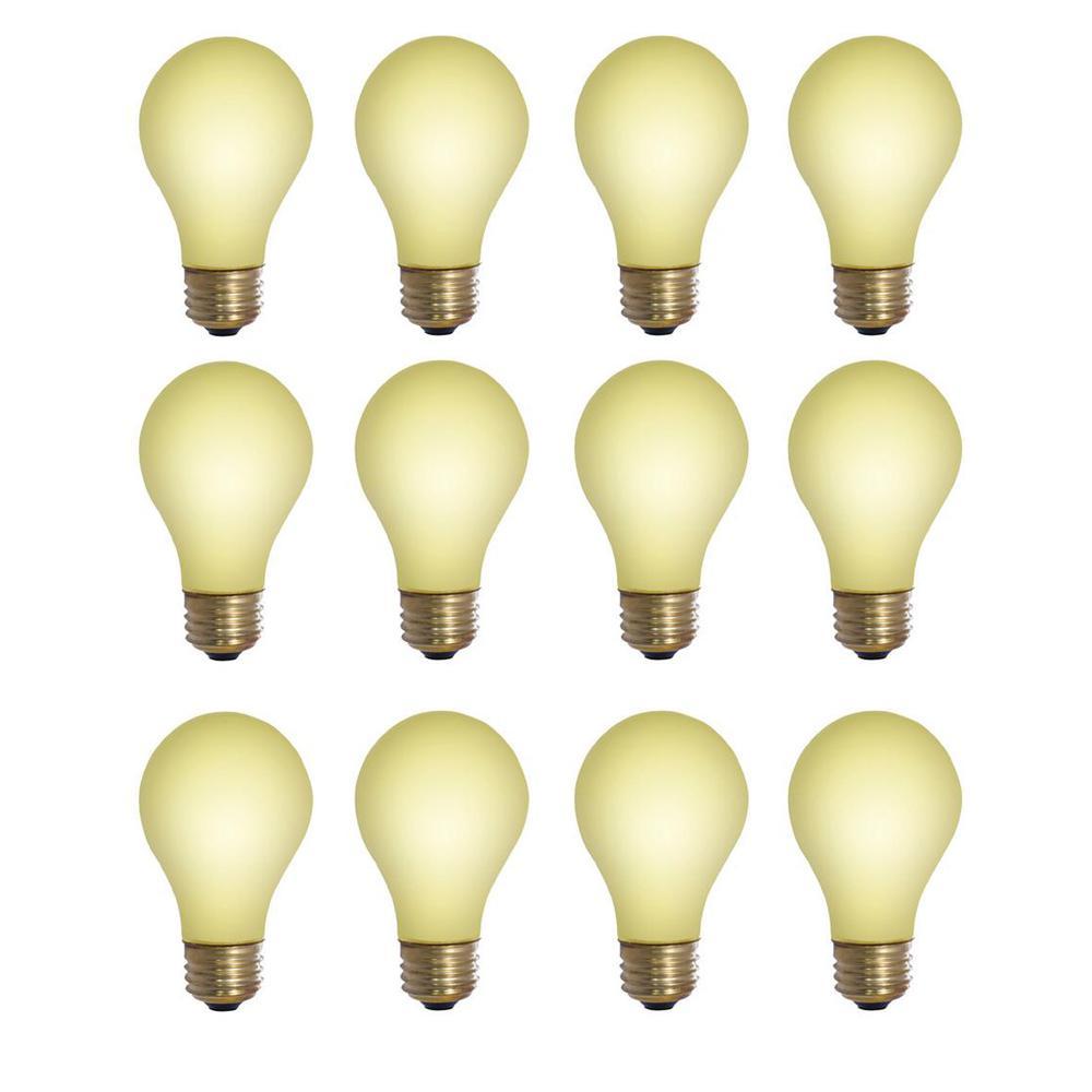 60-Watt A19 Yellow Bug Dimmable Incandescent Light Bulb (12-Pack)
