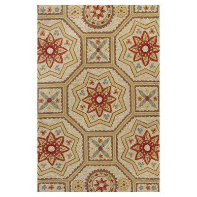 Mosaic Motif Beige/Red 5 ft. x 8 ft. Area Rug