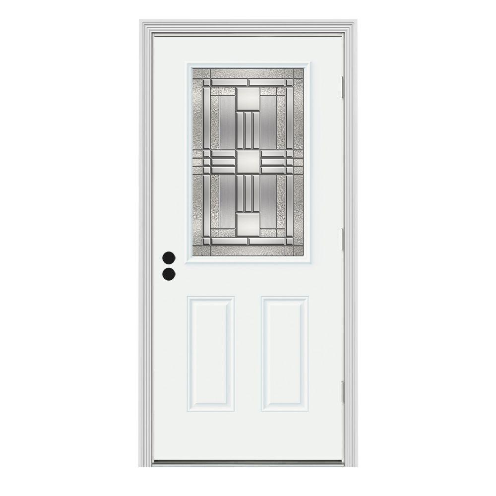 Jeld wen 32 in x 80 in 1 2 lite cordova white painted steel prehung left hand outswing front for Prehung outswing exterior door