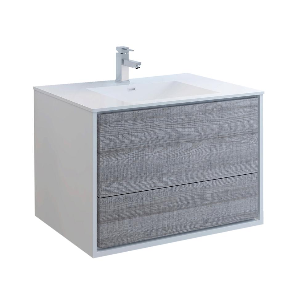 Fresca Catania 36 in. Modern Wall Hung Bath Vanity in Glossy Ash Gray with Vanity Top in White with White Basin
