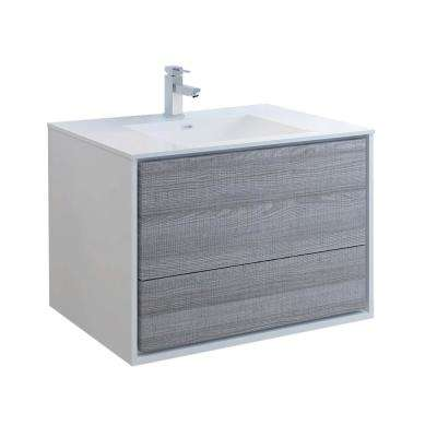 Catania 36 in. Modern Wall Hung Bath Vanity in Glossy Ash Gray with Vanity Top in White with White Basin