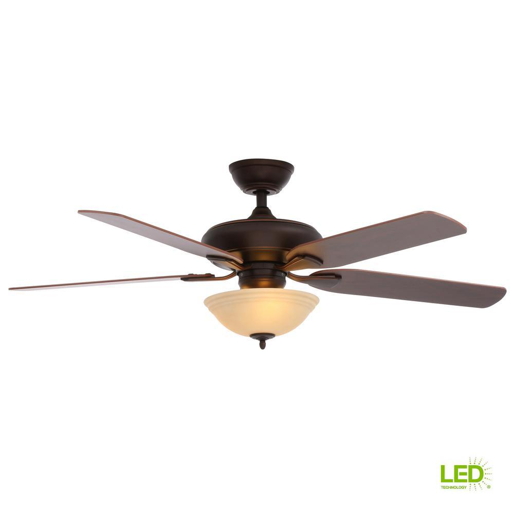 Flowe 52 in. LED Indoor Mediterranean Bronze Ceiling Fan with Light