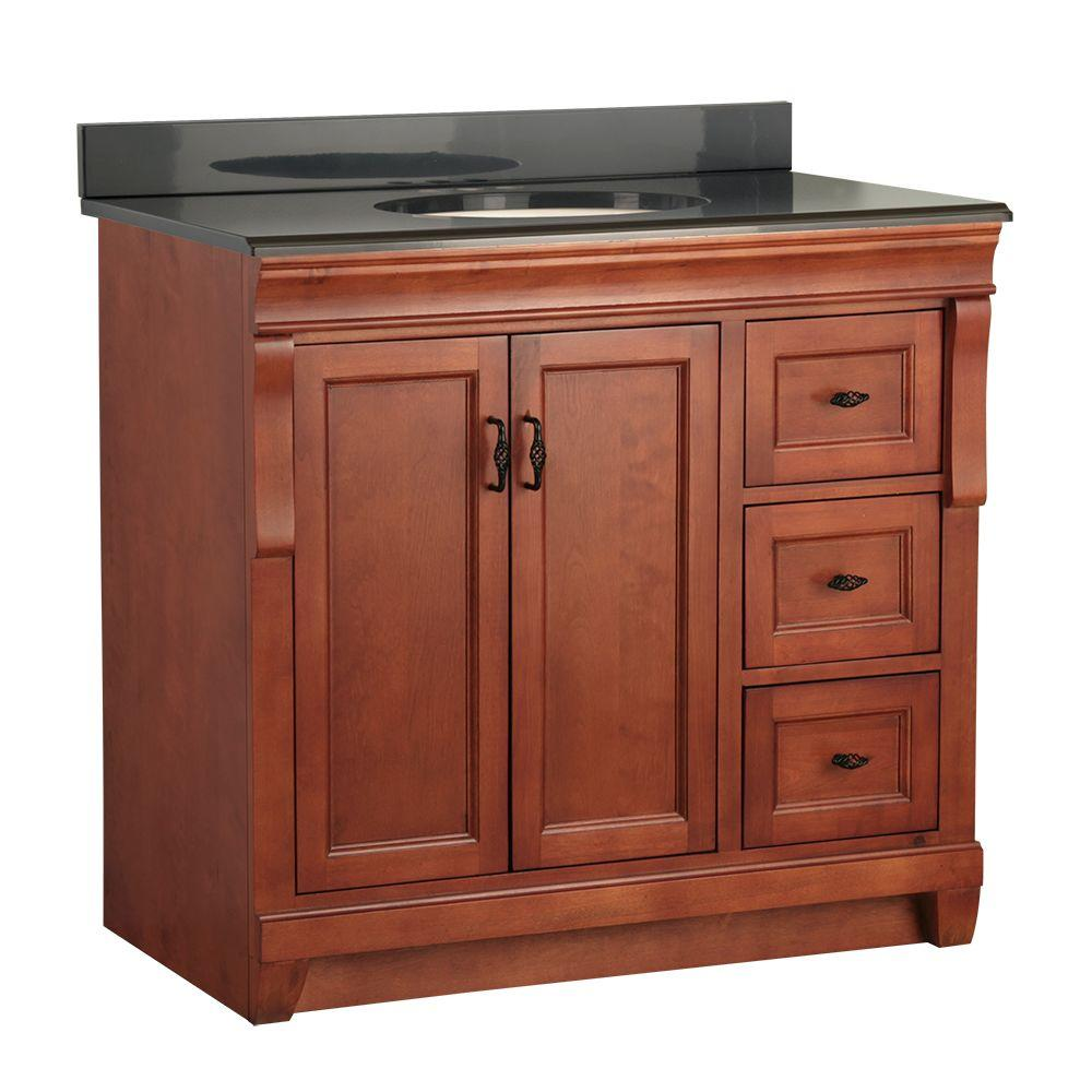 Foremost Naples 37 in. W x 22 in. D Vanity in Warm Cinnamon with Colorpoint Vanity Top in Black
