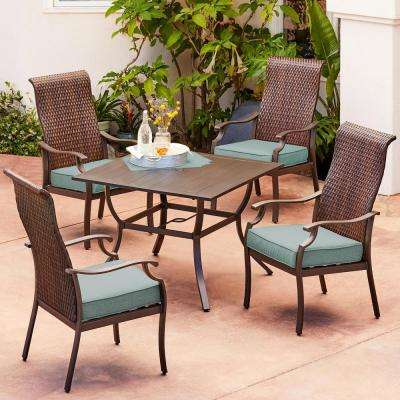 Rhone Valley 5-Piece Wicker Outdoor Dining Set with Teal Cushions