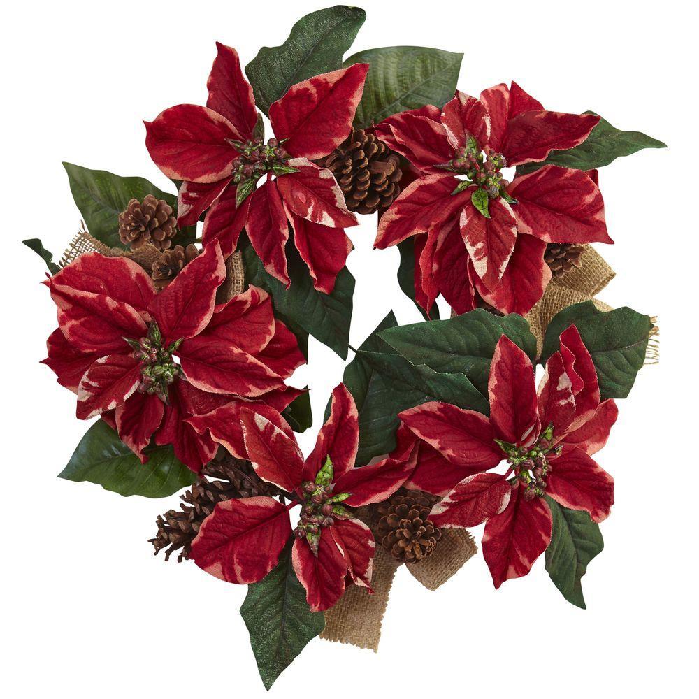 22 in. Poinsettia, Pine Cone and Burlap Artificial Wreath