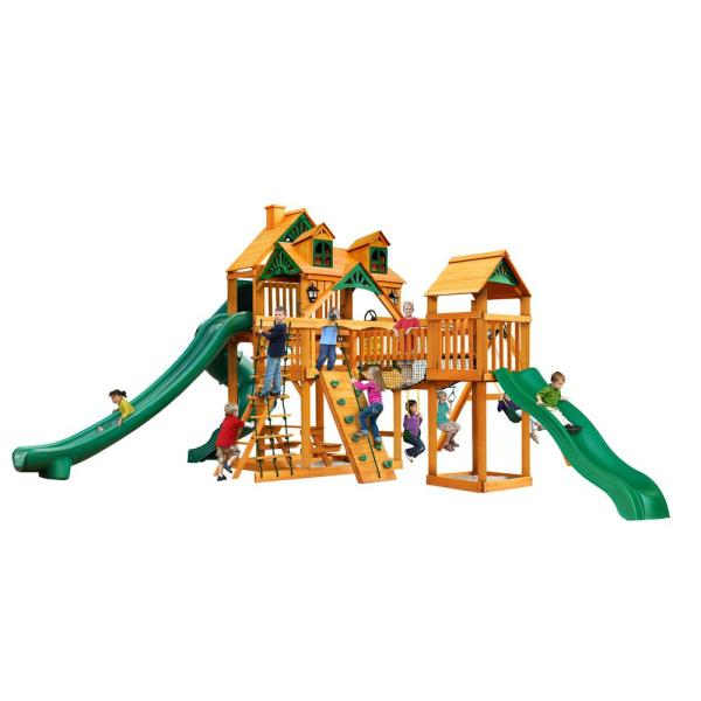 Treasure Trove II Wooden Swing Set with Malibu Wood Roof and 3 Slides