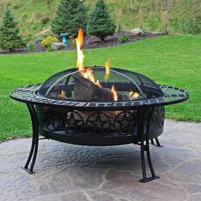 Four Star 40 in. W x 21.25 in. H Round Steel Wood-Burning Fire Pit Table with Spark Screen in Black