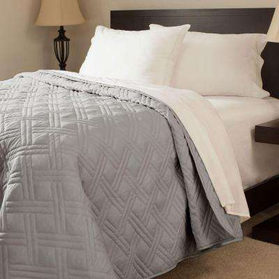 Solid Color Silver Twin Bed Quilt