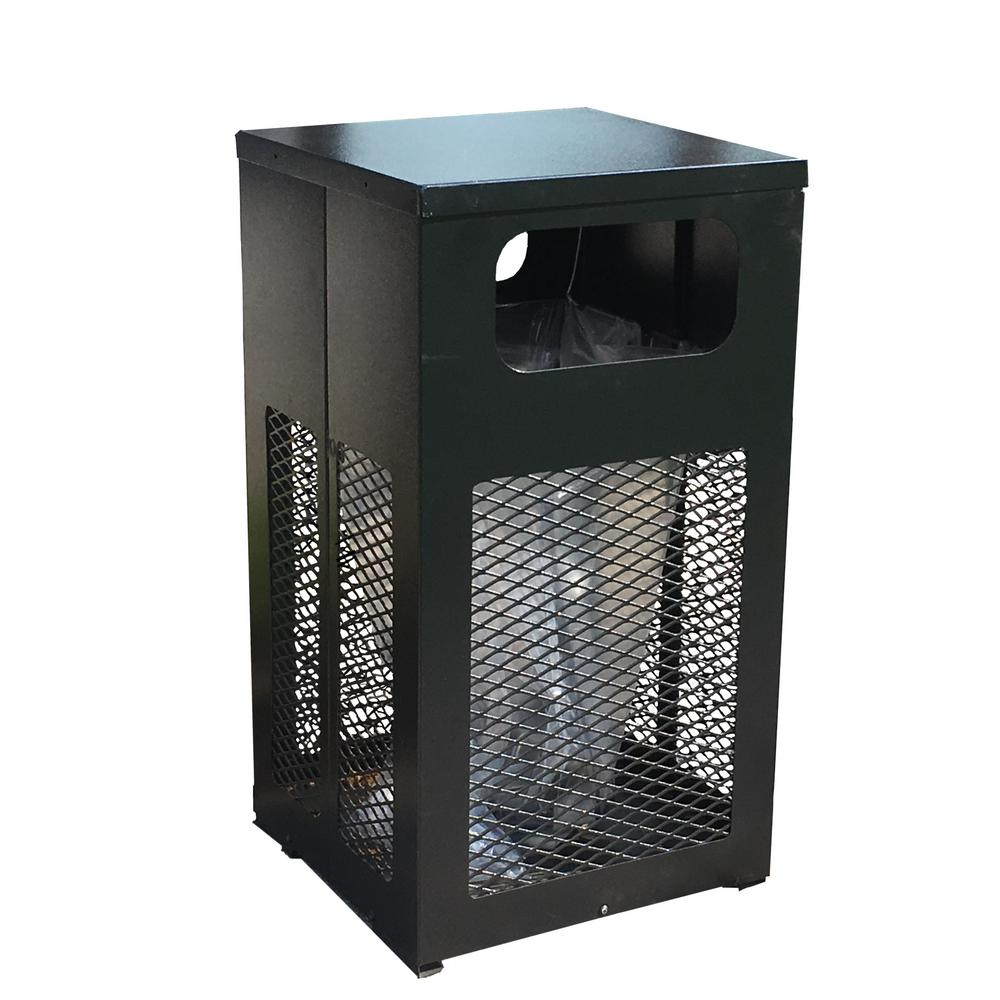 34 Gal. Black Metal Visible Sided Trash Can