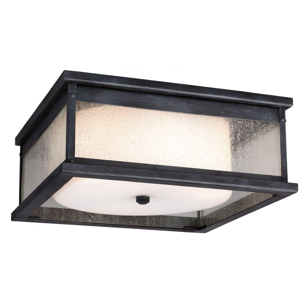 Pediment 13 in. W. 3-Light Dark Weathered Zinc Outdoor Ceiling Fixture