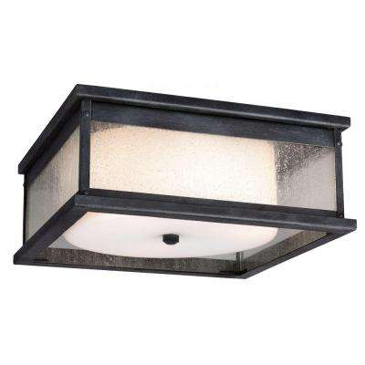Pediment 13 in. W. 3-Light Dark Weathered Zinc Outdoor Ceiling Fixture with Clear Seeded Glass