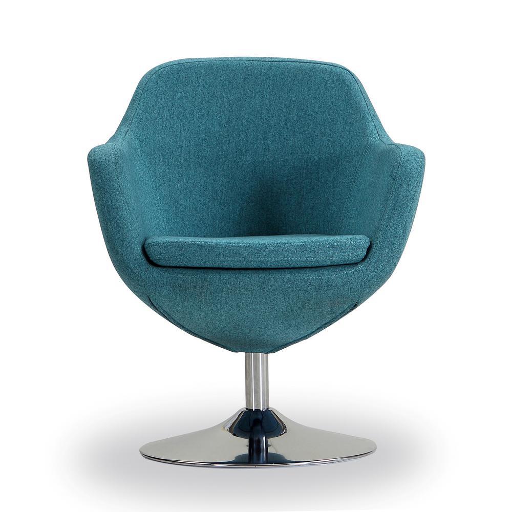 Blue Caisson Swivel Accent Chair