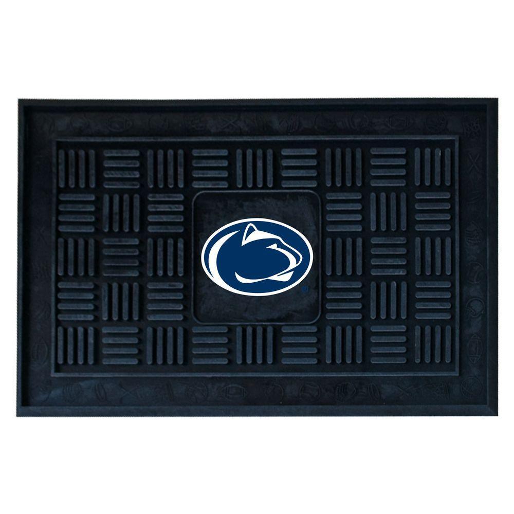 NCAA Penn State Black Rectangular 19.5 in. x 31.25 in. Outdoor Vinyl Medallion Door Mat