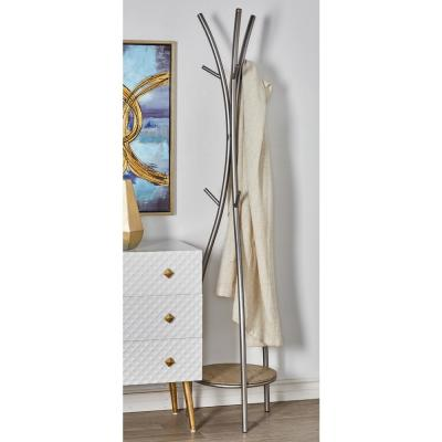 Silver Curved Iron Poles Standing Coat Rack