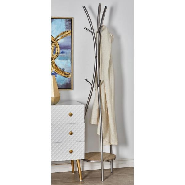 Litton Lane Silver Curved Iron Poles Standing Coat Rack