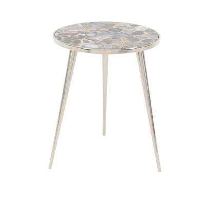 Gray Round Side Table with Brown and Silver Accents