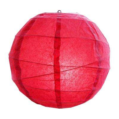 CrissCross 12 in. x 12 in. Red Round Paper Lantern (5-Pack)