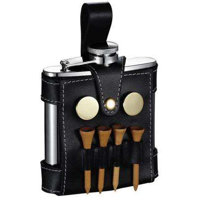 GB Light Liquor Flask with Black Leather Wrap and Golf Tools