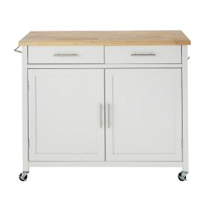 Glenville White Kitchen Cart with 2 Drawers