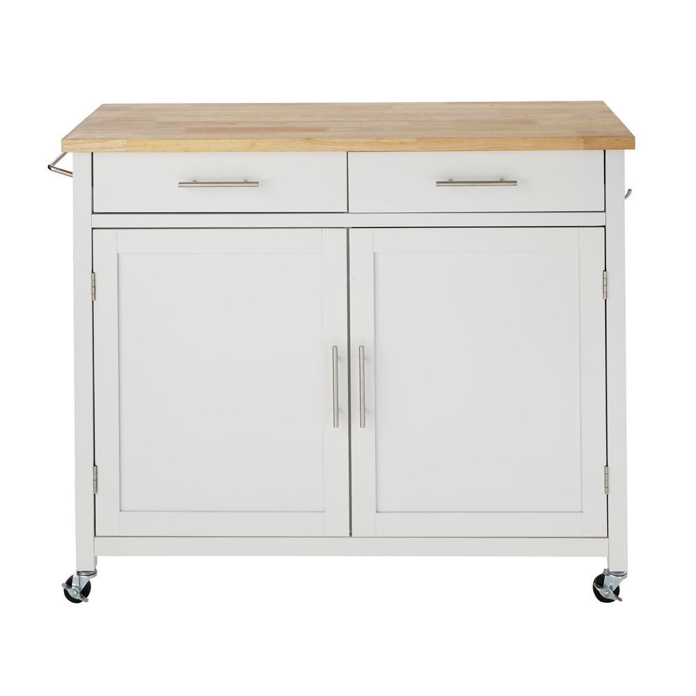 Stylewell Glenville White Rolling Kitchen Cart With Butcher