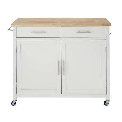 Glenville White Rolling Kitchen Cart with Butcher Block