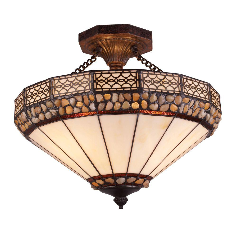 Titan Lighting Stone Filigree 3-Light Burnished Copper Ceiling Semi Flush Mount