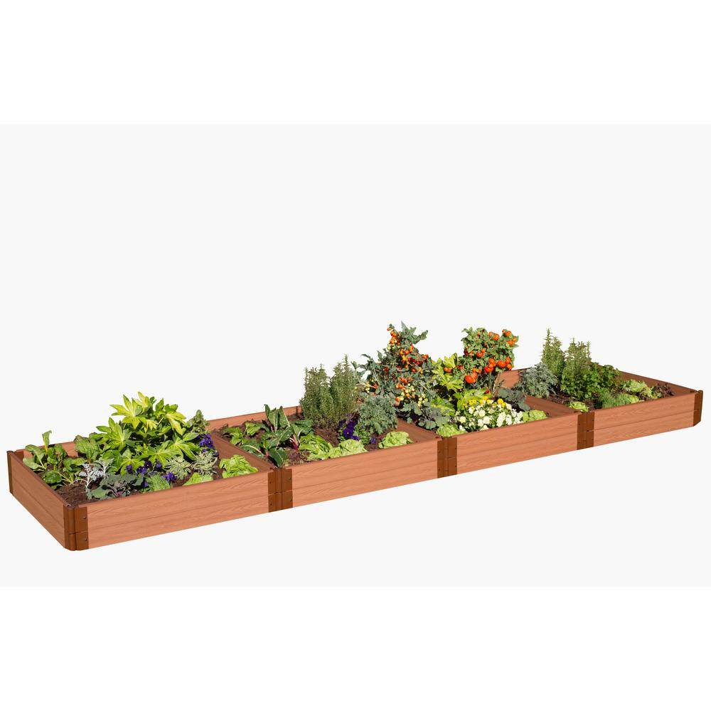 Frame It All One Inch Series 4 ft. x 16 ft. x 11 in. Classic Sienna  Composite Raised Garden Bed Kit