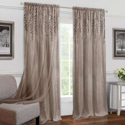 Willow Toffee Polyester Rod Pocket Curtain - 42 in. W x 63 in. L