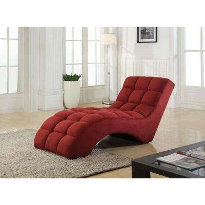Red Tufted Chaise Lounge Chair