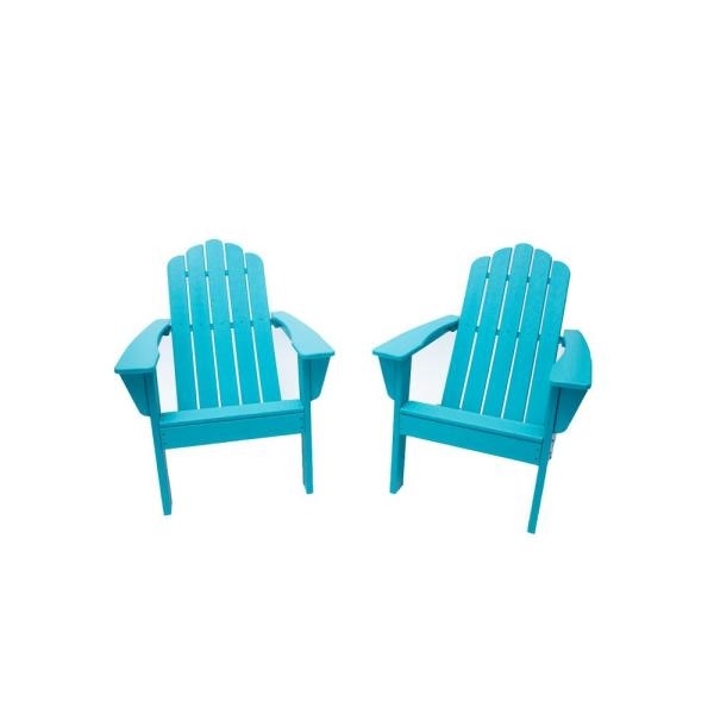 Marina Aruba Blue Poly Plastic Outdoor Patio Adirondack Chair (2-Pack)
