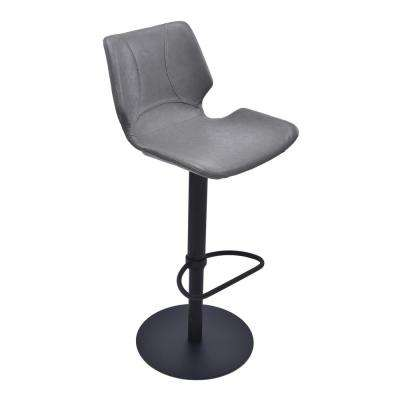 Zuma 31 in. Vintage Gray Faux Leather and Black Metal Finish Adjustable Swivel Barstool