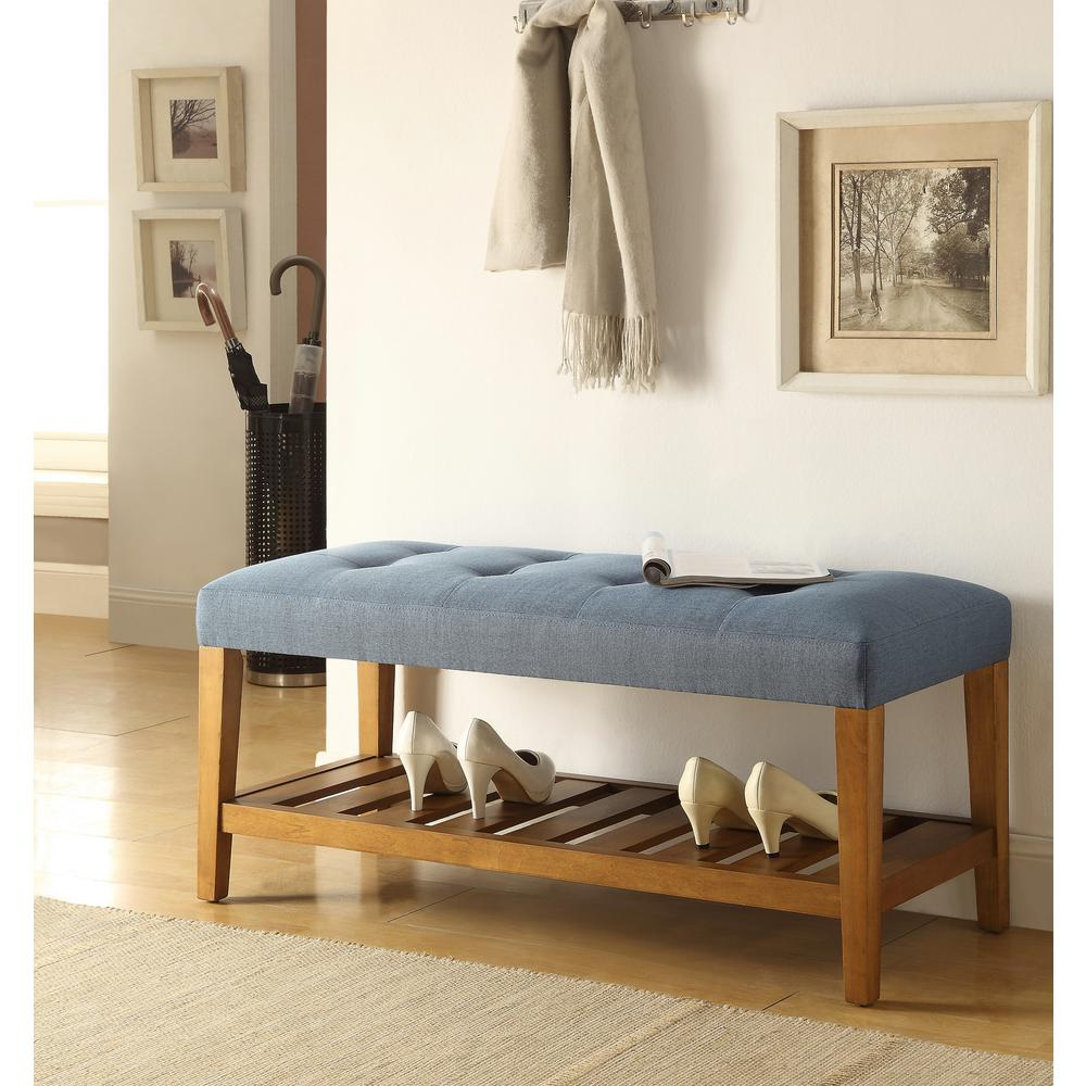 Charla Blue and Oak Storage Bench