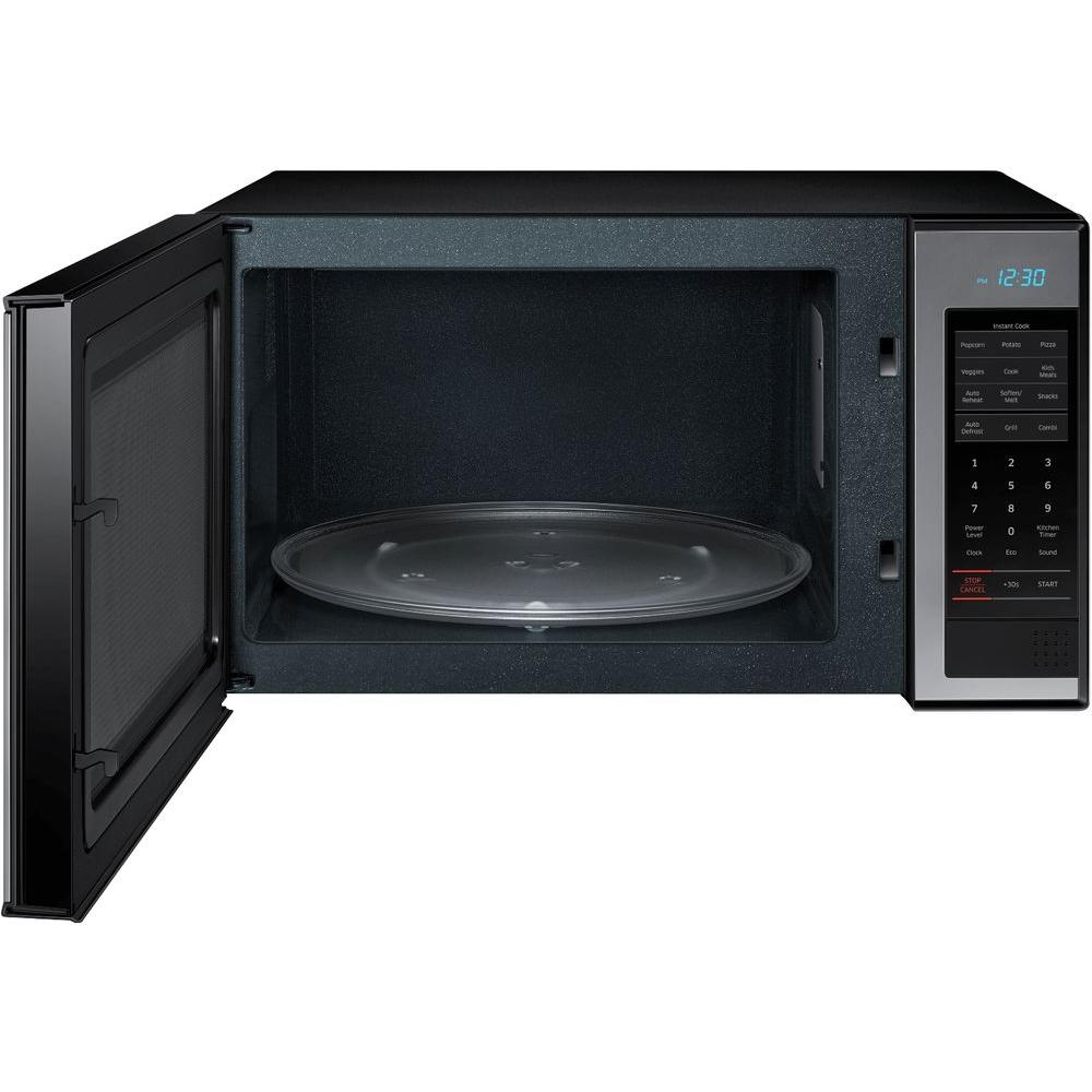 Samsung 1 4 Cu Ft Countertop Microwave In Stainless Steel With Shiny Mirror Design Mg14h3020cm The Home Depot