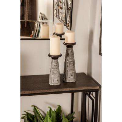 Gray Cone-Shaped Ceramic Candle Holders (Set of 3)