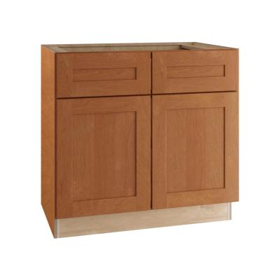Hargrove Assembled 36x34.5x24 in. Plywood Shaker Sink Base Kitchen Cabinet Soft Close Doors in Stained Cinnamon