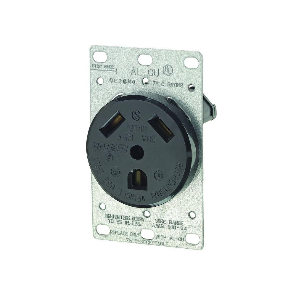 30 Amp Flush-Mount Power Single Outlet, Black