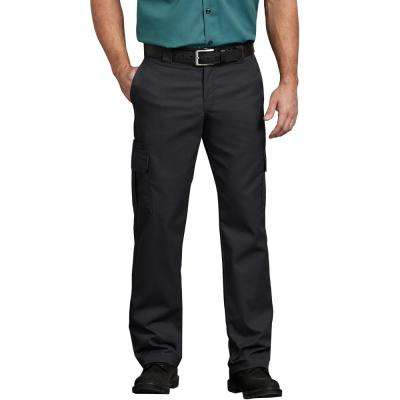 Men's Black Flex Regular Fit Straight Leg Cargo Pant
