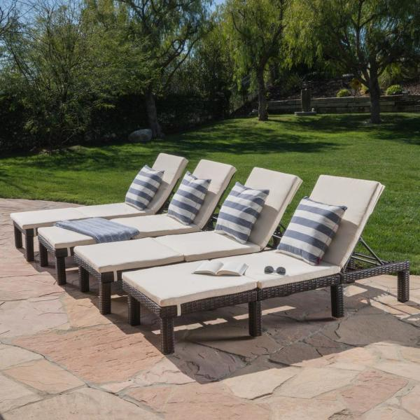 Noble House Salem Multi Brown Wicker Outdoor Chaise