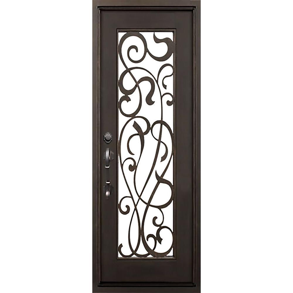 ALLURE IRON DOORS & WINDOWS 40 in. x 82 in. St.Lucie Flat Top Dark Bronze Full Lite Painted Wrought Iron Prehung Front Door (Hardware Included)