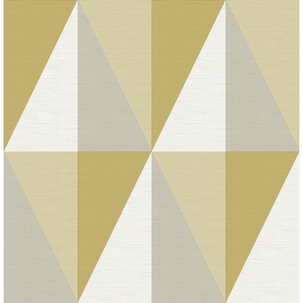 A-Street Aspect Yellow Geometric Faux Grasscloth Wallpaper 2902-25538
