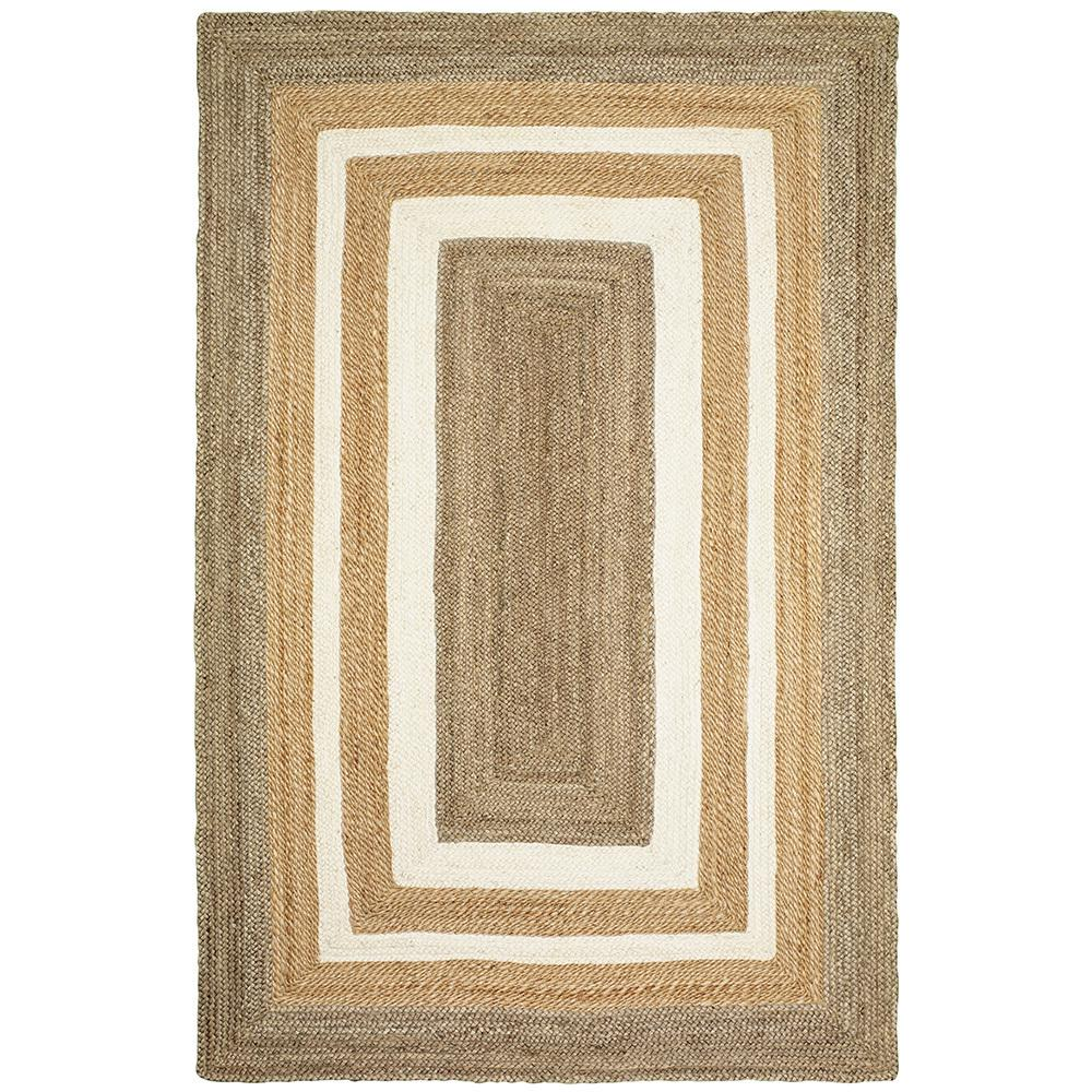 LR Home Braided Border Gray / Bleach Natural 3 ft. 6 in. x 5 ft. 6 in. Indoor Area Rug