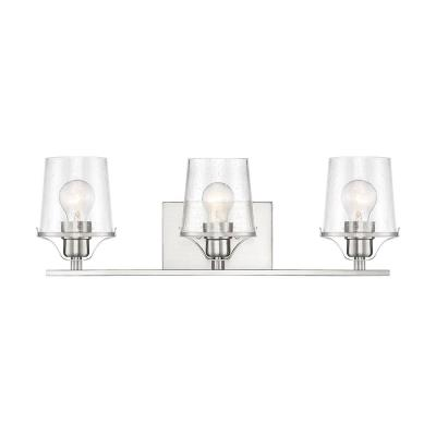 Decorative Interior 3-Light Brushed Nickel Vanity Light with Clear Seedy Glass Shade
