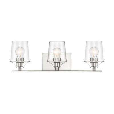 Decorative Interior 3 Light Brushed Nickel Vanity With Clear Seedy Gl Shade
